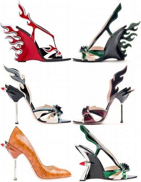 b5accbf6a Os sapatos agressivos da Prada da moda primavera verão 2012