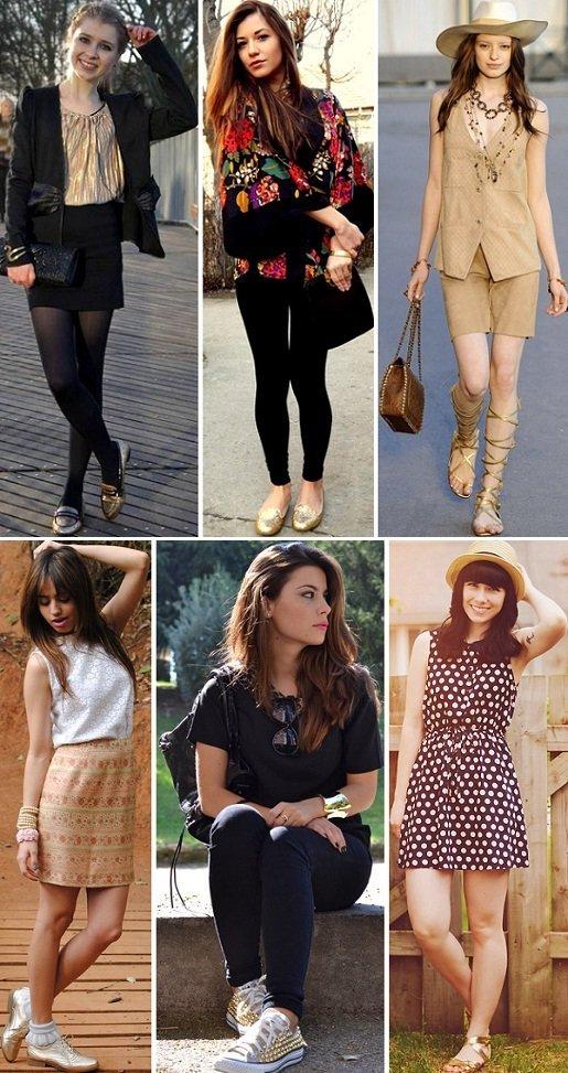 ce2c885bcd Pé na moda  como usar sapato dourado  - Amo Sapatos