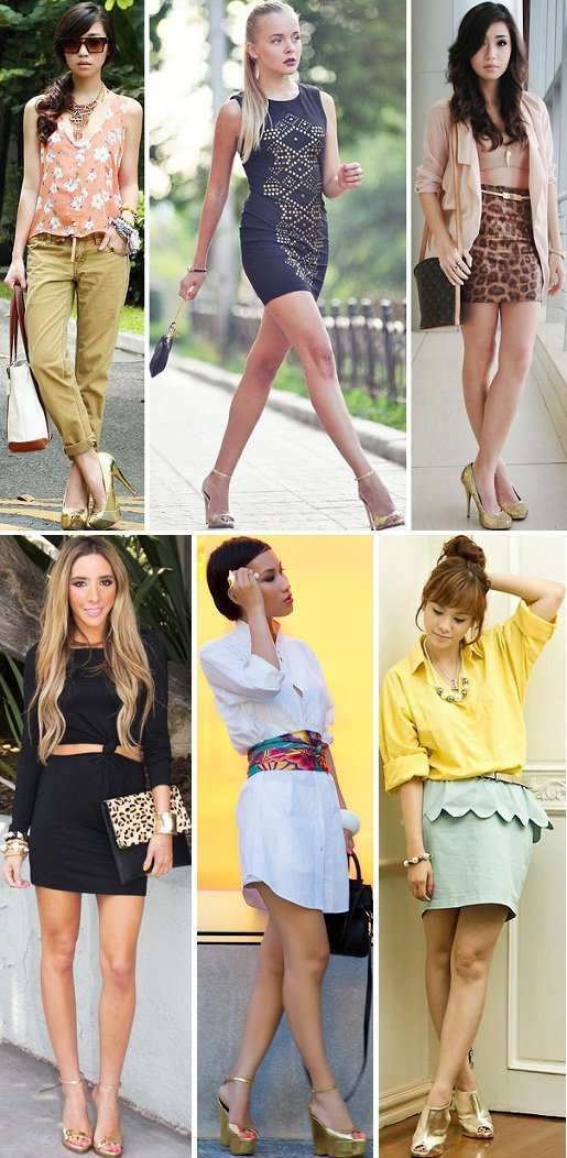 O que usar com vestido longo dourado